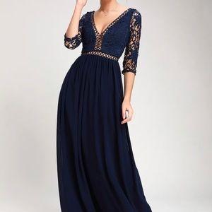 Lulu's Avalynn 3/4 Sleeve Lace Maxi Dress, Sz M